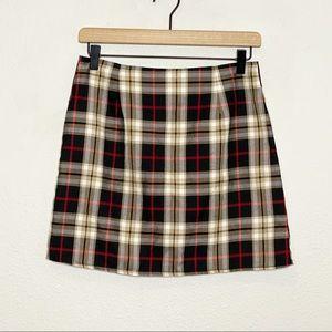 Nasty Gal Black Tan Check On It Plaid Mini Skirt